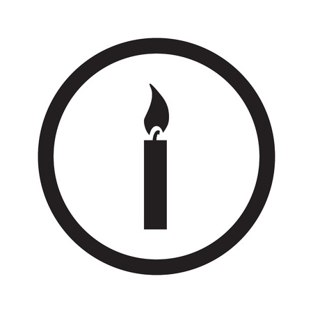 candle light: Flat black Candle Light web icon in circle on white background Illustration