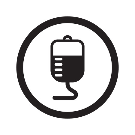 donor blood type: Flat black Transfusion web icon in circle on white background Illustration