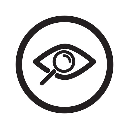 observation: Flat black Observation web icon in circle on white background