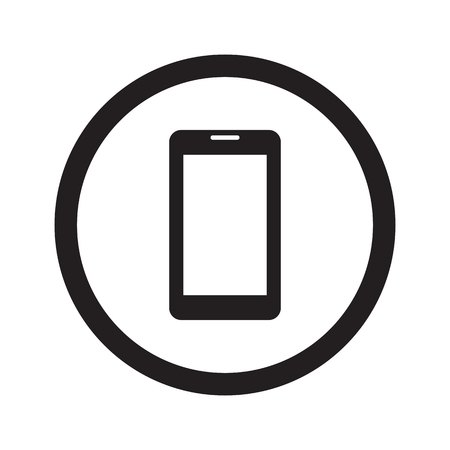 no cell phone: Flat black Mobile Phone web icon in circle on white background