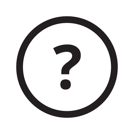 Flat black Question Mark web icon in circle on white background