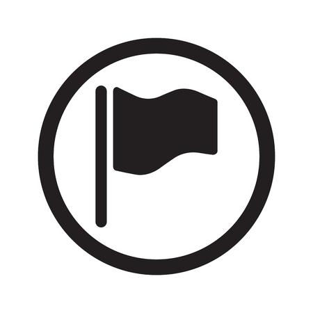 black flag: Flat black Flag web icon in circle on white background