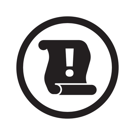 important information: Flat black Important Information web icon in circle on white background Illustration