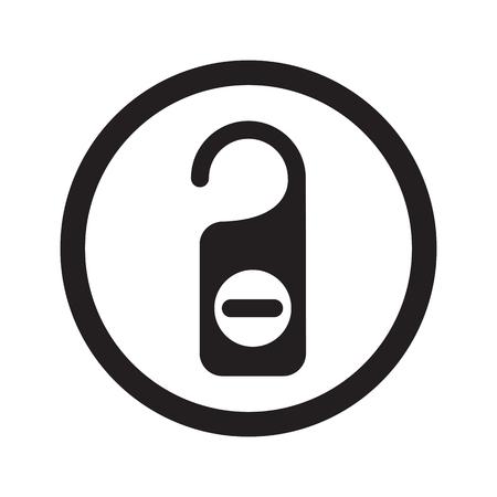 disturbance: Flat black Hotel Hanger web icon in circle on white background Illustration