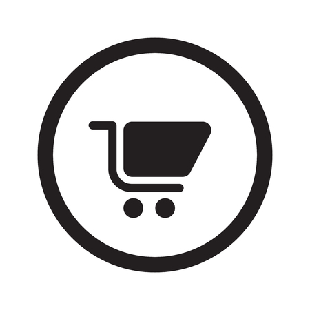 web shopping: Flat black Shopping Cart web icon in circle on white background Illustration