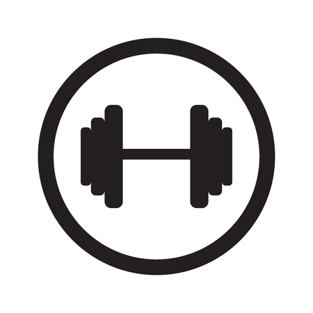 circular muscle: Flat black Dumbbell web icon in circle on white background Illustration