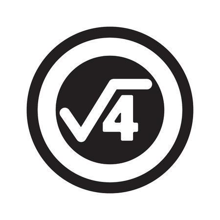 square root: Flat black Square Root web icon in circle on white background