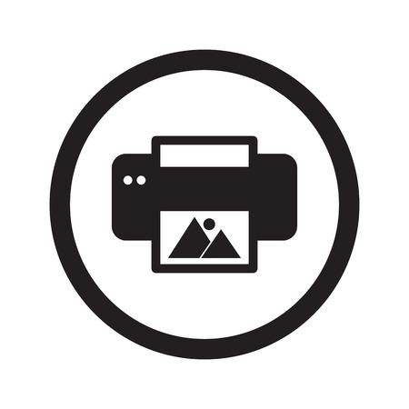 photo printer: Flat black Photo Printing web icon in circle on white background