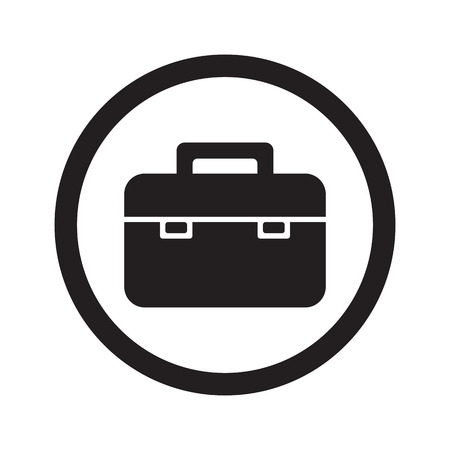 black briefcase: Flat black Briefcase web icon in circle on white background Illustration