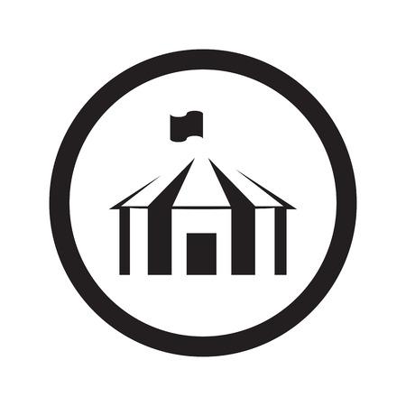 Platte zwarte Party Tent web pictogram in cirkel op een witte achtergrond