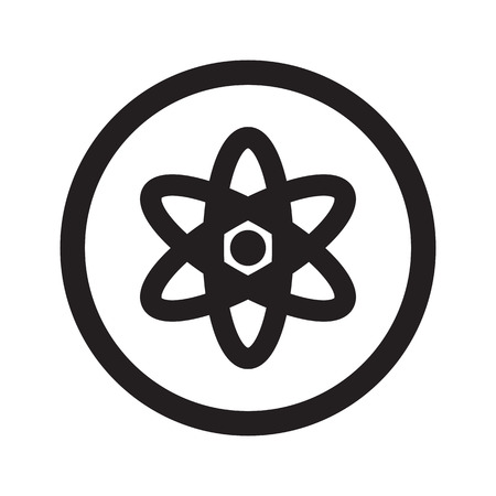 fission: Flat black Nuclear web icon in circle on white background