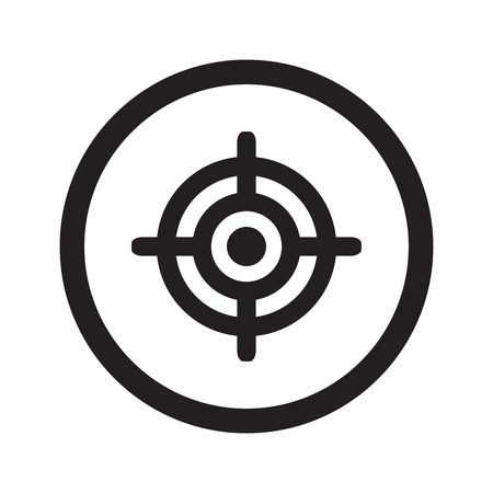 suppliers: Flat black Target web icon in circle on white background