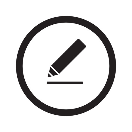 Flat black Sign Here web icon in circle on white background 向量圖像