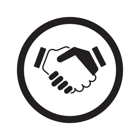 black handshake: Flat black Handshake Agreement web icon in circle on white background