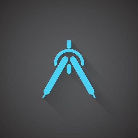 drafting: Flat Drafting Compass web app icon on dark background