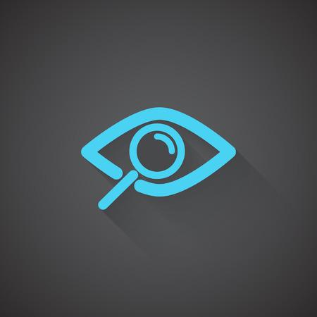 observation: Flat Observation web app icon on dark background Illustration