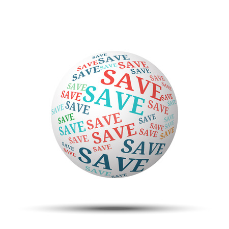 bargains: Tag cloud sphere Save, isolated on white background