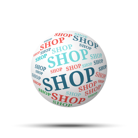 e commerce icon: Tag cloud sphere Shop, isolated on white background