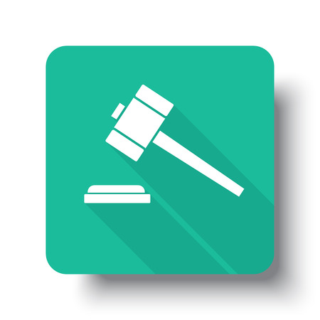 drop shadow: Flat white Law Gavel web icon on green button with drop shadow Illustration
