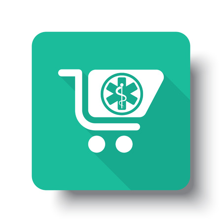 pharmacy store: Flat white Pharmacy Store web icon on green button with drop shadow