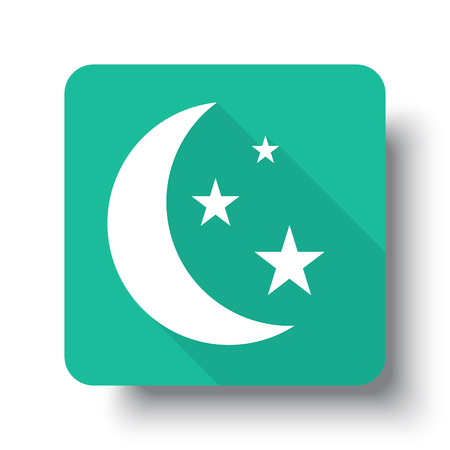 drop shadow: Flat white Moon And Stars web icon on green button with drop shadow