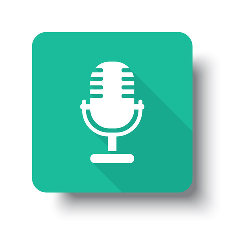 pod cast: Flat white Microphone web icon on green button with drop shadow