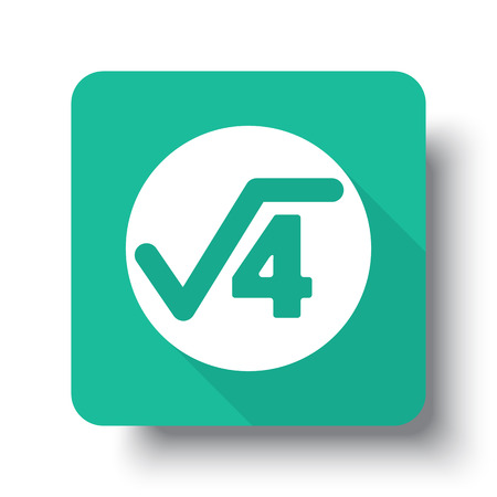 square root: Flat white Square Root web icon on green button with drop shadow