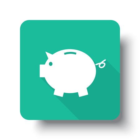 interface scheme: Flat white Piggy Bank web icon on green button with drop shadow