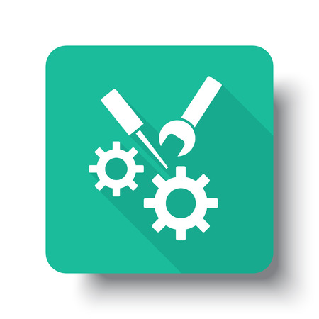drop shadow: Flat white Service web icon on green button with drop shadow Illustration