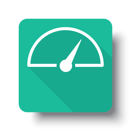 drop shadow: Flat white Speed Meter web icon on green button with drop shadow