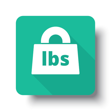lbs: Flat white Weight Pounds web icon on green button with drop shadow