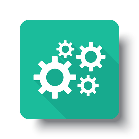drop shadow: Flat white Process web icon on green button with drop shadow Illustration