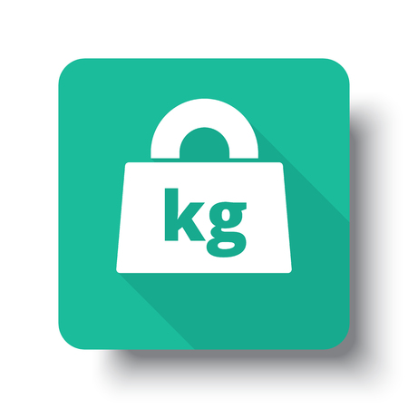 Flat white Weight Kilograms web icon on green button with drop shadow