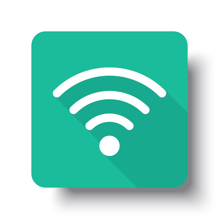 interface icon: Flat white Wireless web icon on green button with drop shadow