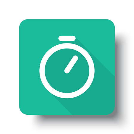 drop shadow: Flat white Timer web icon on green button with drop shadow