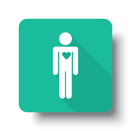 heart failure: Flat white Heart web icon on green button with drop shadow