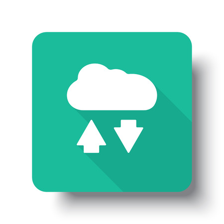 green computing: Flat white Cloud Computing web icon on green button with drop shadow