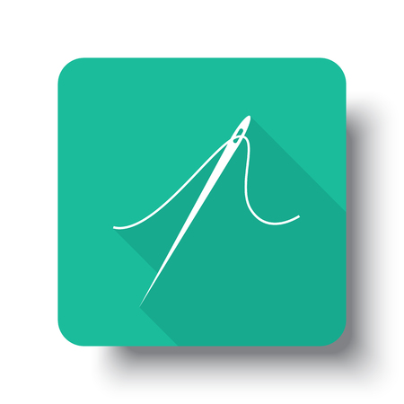 drop shadow: Flat white Needle web icon on green button with drop shadow Illustration