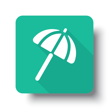 drop shadow: Flat white Parasol web icon on green button with drop shadow Illustration