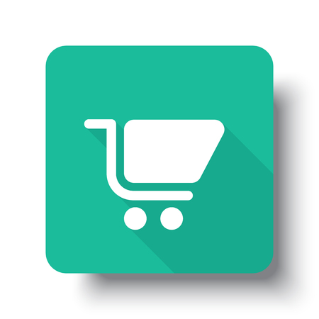 drop shadow: Flat white Shopping Cart web icon on green button with drop shadow Illustration