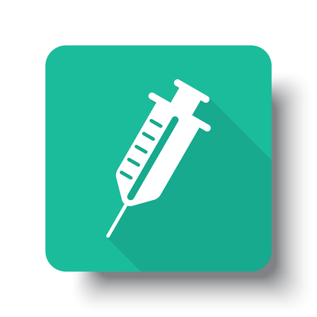 drop shadow: Flat white Syringe web icon on green button with drop shadow