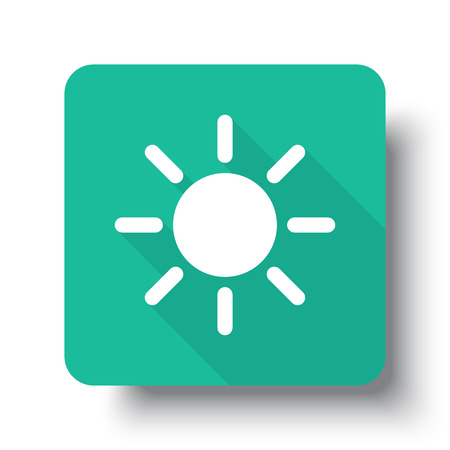 drop shadow: Flat white Sun web icon on green button with drop shadow