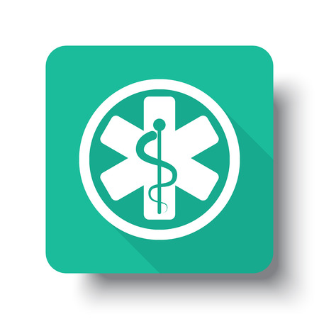 drop shadow: Flat white Medical  web icon on green button with drop shadow