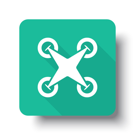 drop shadow: Flat white Drone Quadcopter web icon on green button with drop shadow Illustration