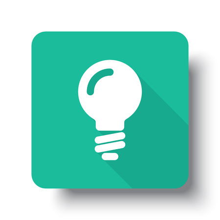 green button: Flat white Light Bulb web icon on green button with drop shadow Illustration