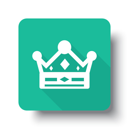 drop shadow: Flat white Crown web icon on green button with drop shadow