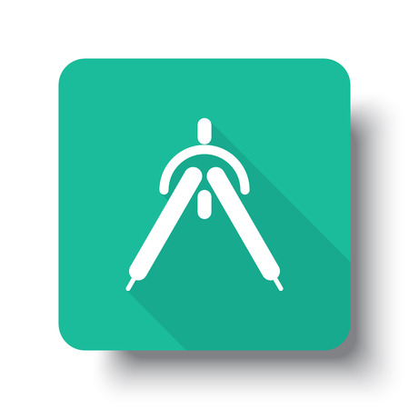 drop shadow: Flat white Drafting Compass web icon on green button with drop shadow Illustration