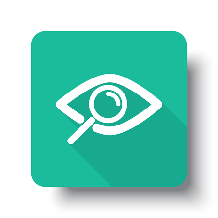 observation: Flat white Observation web icon on green button with drop shadow Illustration