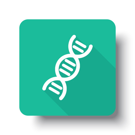 drop shadow: Flat white Dna web icon on green button with drop shadow Illustration