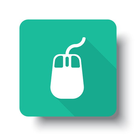 drop shadow: Flat white Mouse web icon on green button with drop shadow